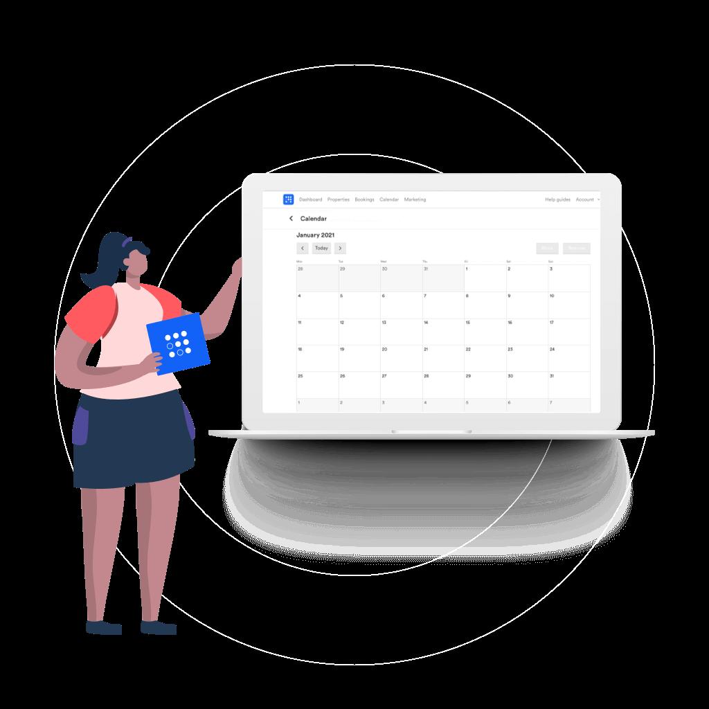 TravelNest Calendar on laptop illustration