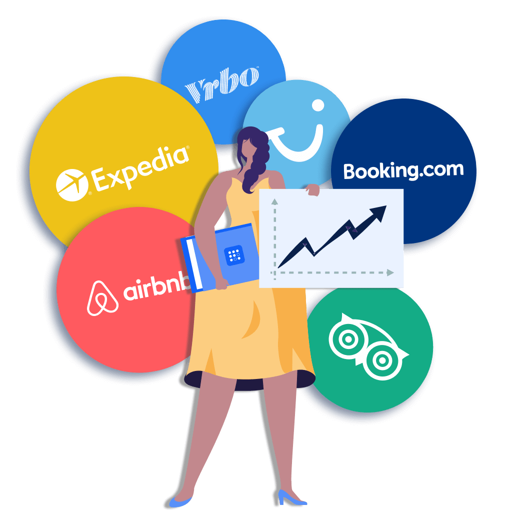 Illustration of TravelNest customer with chart